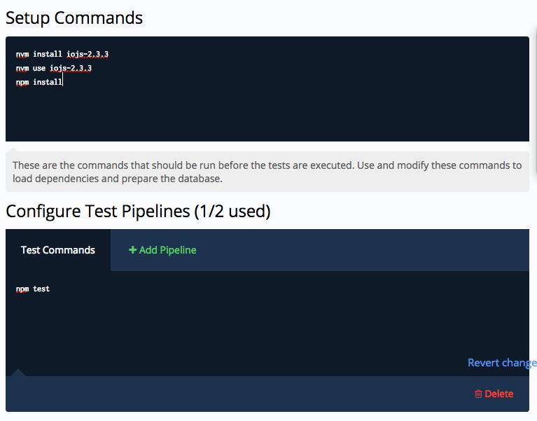 Codeship Node.js tests