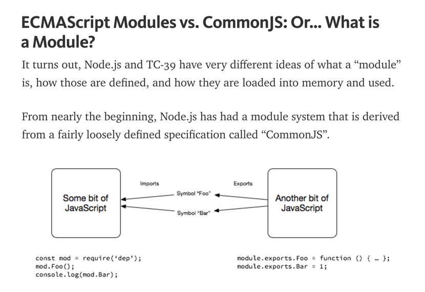 ECMAScript modules vs. CommonJS