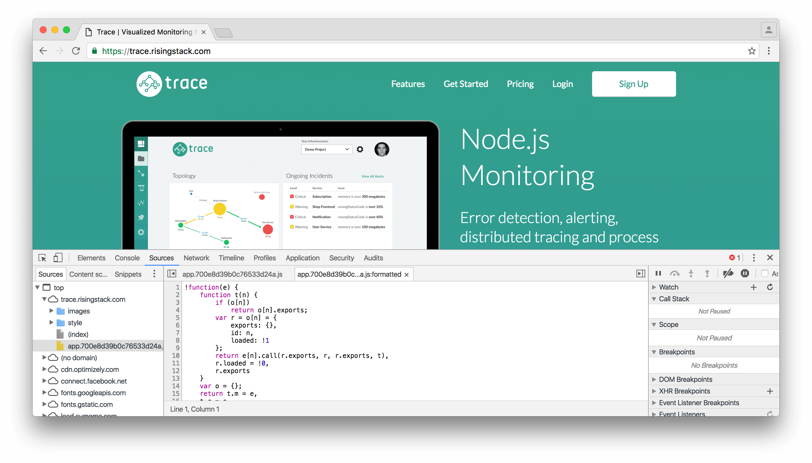 node.js chrome developer tools debugging