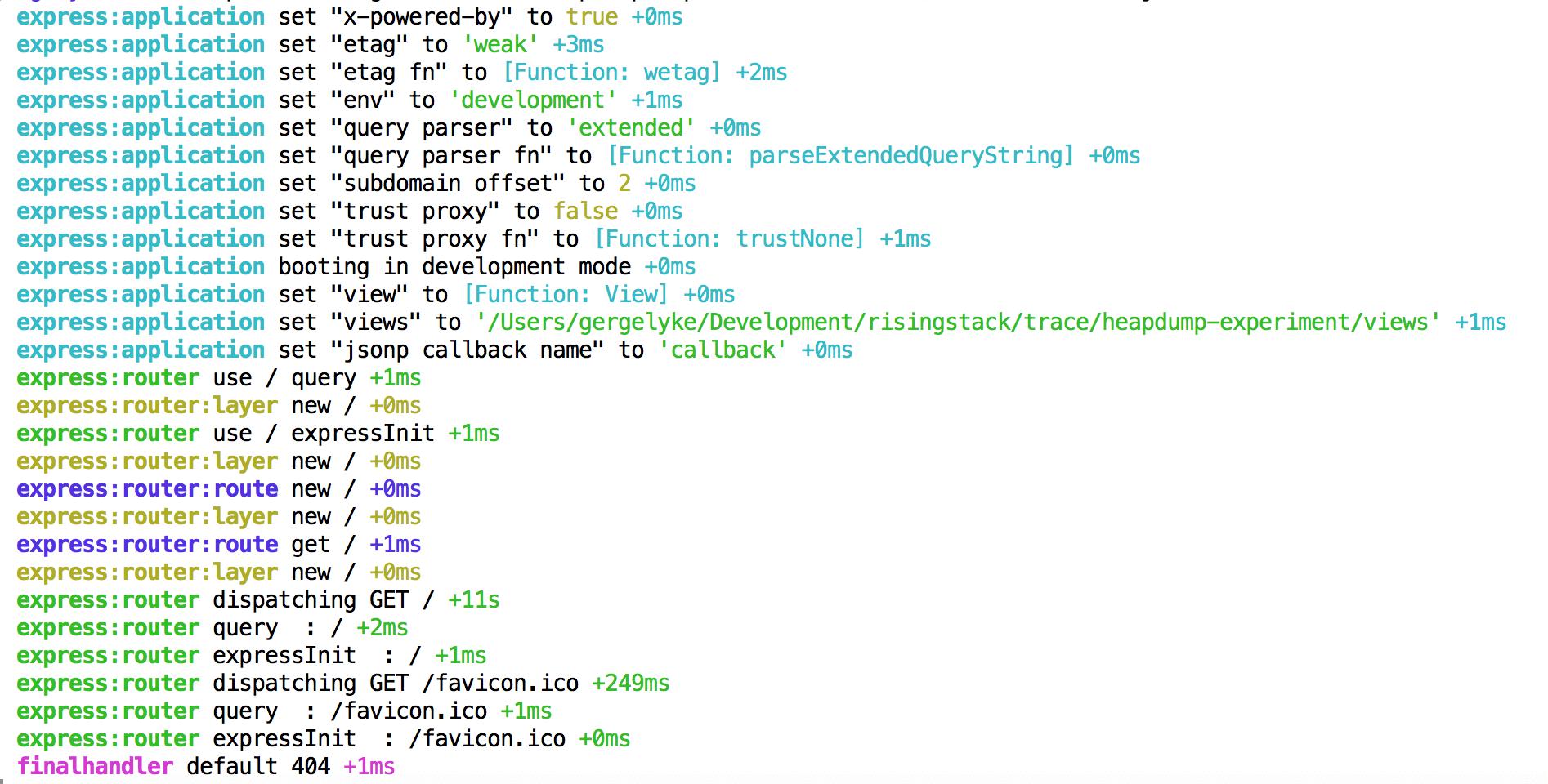 Node.js logging express output