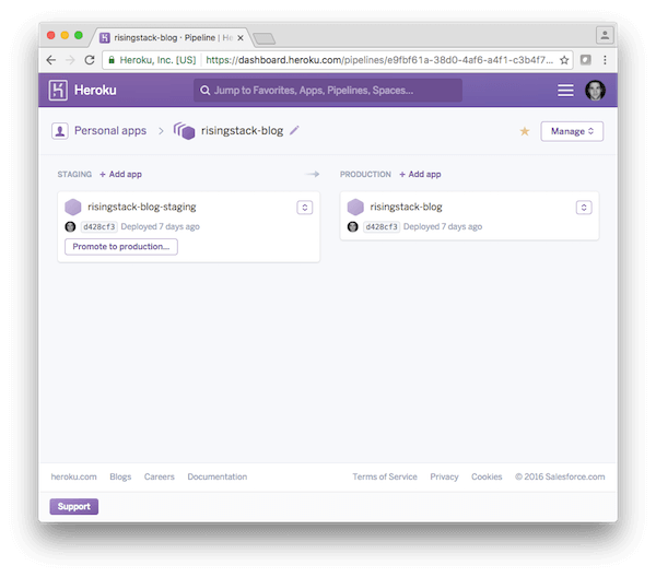 Heroku with Node.js - Pipeline View