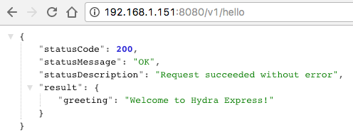 Hello message from Node.js app