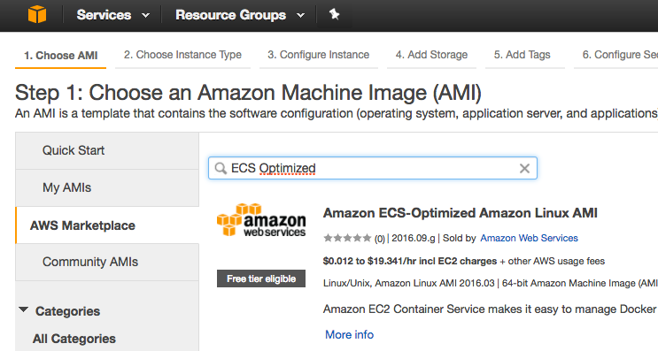 AWS Choose AMI - Amazon machine Image