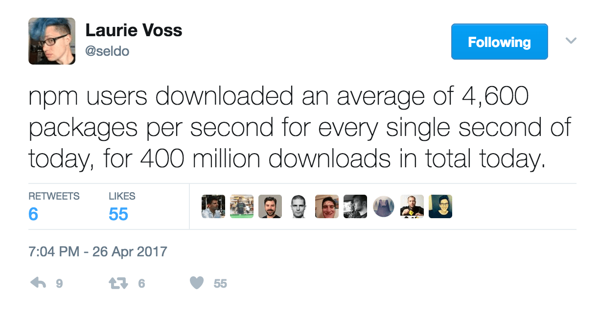 npm, the Node Package Manager passes 400 million downloads a day