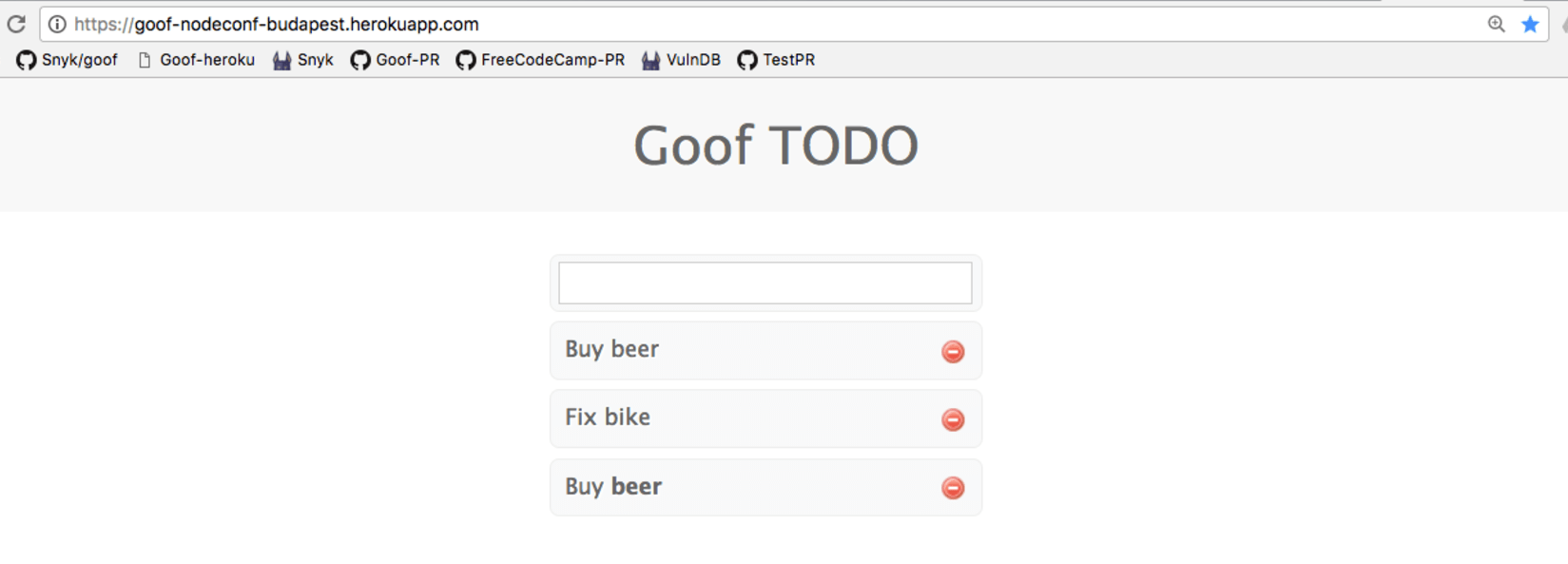 Goof the todo app written in Node