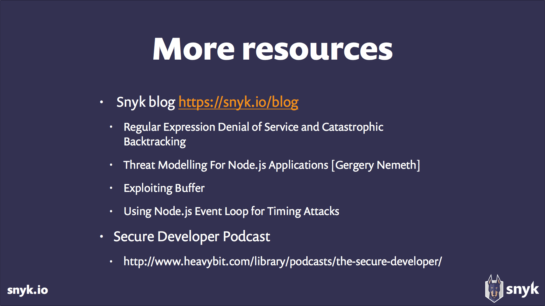 more resources from snyk