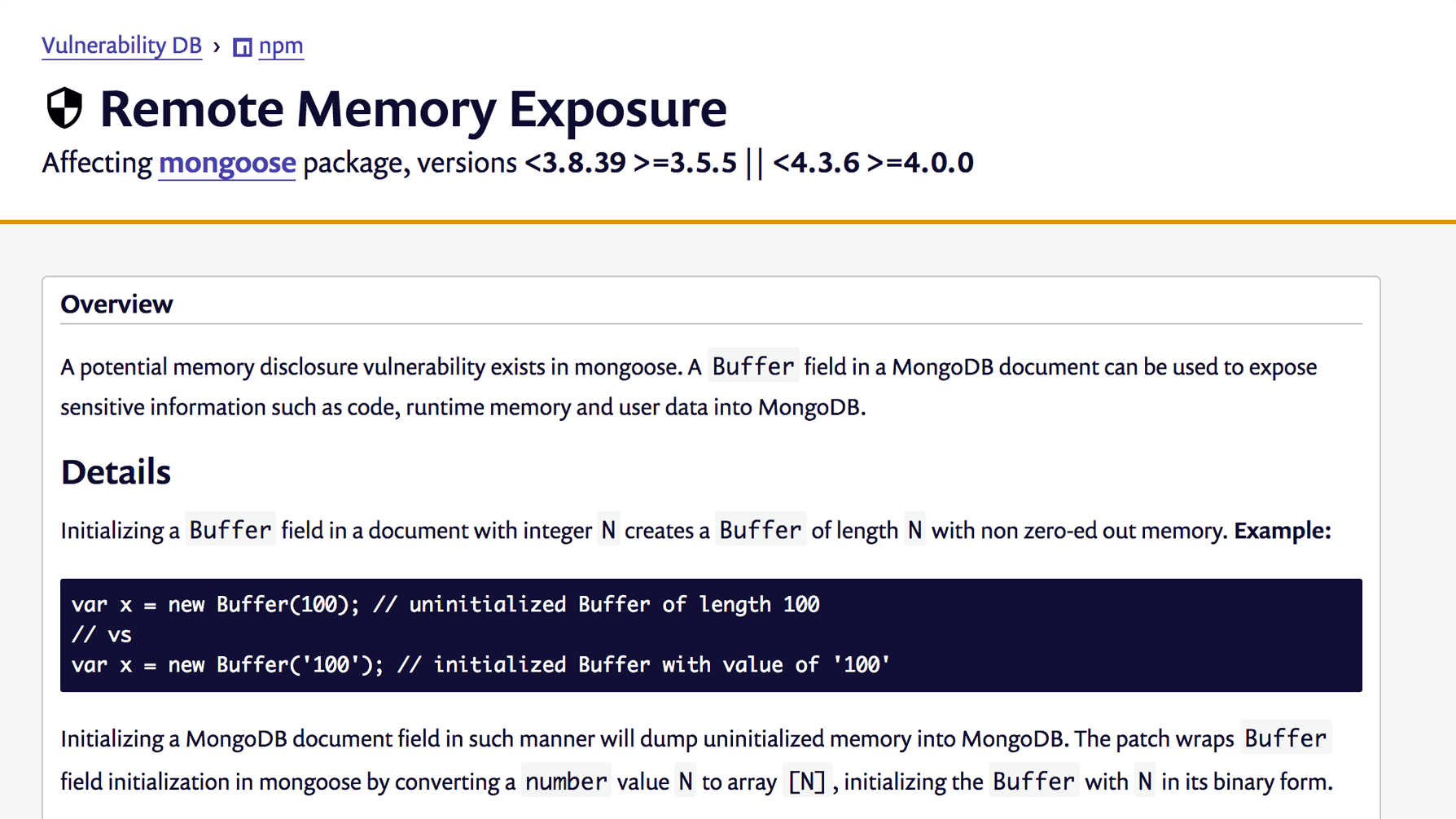 remote memory exposure vulnerability in mongoose