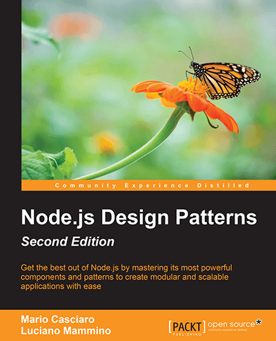 Node.js design patterns book cover